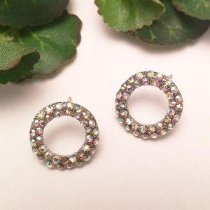 Colorful Rhinestones Embellished Circle Earrings